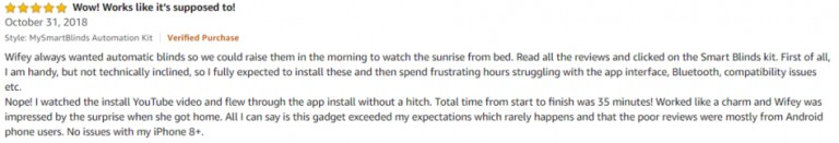 MySmartBlinds Amazon review 3