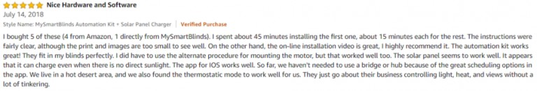 MySmartBlinds Amazon review