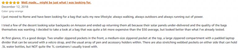Sunnybag Amazon review 3