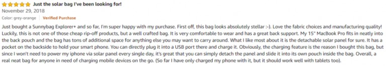 Sunnybag Amazon review