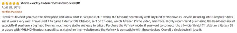 Vufine Amazon review 2
