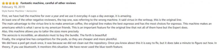 Nespresso by De'Longhi EN350G Amazon review 2