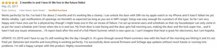 Schlage Sense Amazon review 3