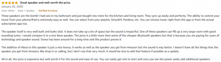 Sonos One Amazon review 2