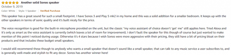 Sonos One Amazon review