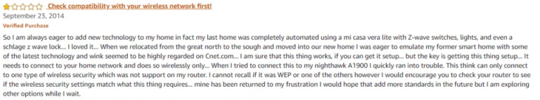 Wink Hub 1 Amazon review 2