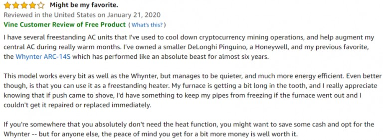 DeLonghi Pinguino 4-in-1 Amazon review 2