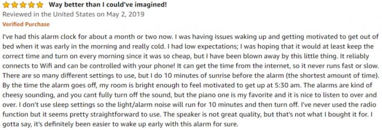 HeimVision Sunrise Amazon review