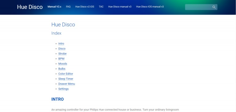Sreenshot of the Hue Disco Website
