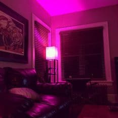 Purple Hue light In the corner of the room