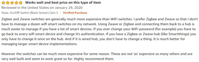 Inovelli ZWave Dimmer Switch Amazon review