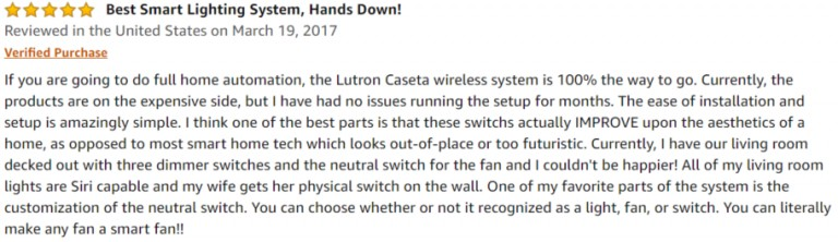 Lutron Caseta Smart Switch Amazon review 2