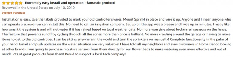 Sprinkl Control Amazon review 2