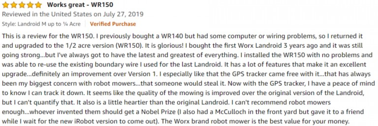 WORX Landroid WR140 M Amazon review