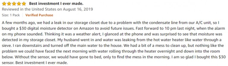 Wasserstein WiFi Water Leak Sensor Amazon review