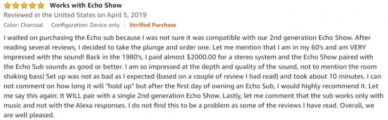 Amazon Echo Sub Amazon Review 3