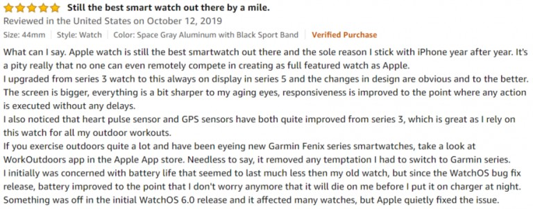 Apple Watch Series 5 Amazon review 2