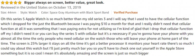 Apple Watch Series 5 Amazon review 3