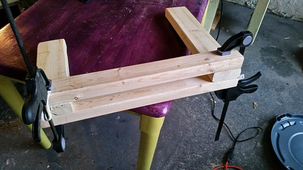 gluing wood and clamping it