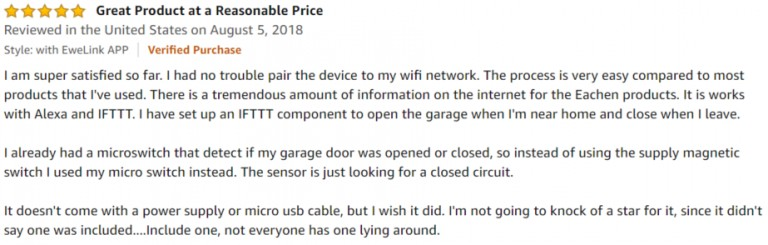 EACHEN Smart WiFi Garage Amazon review 2