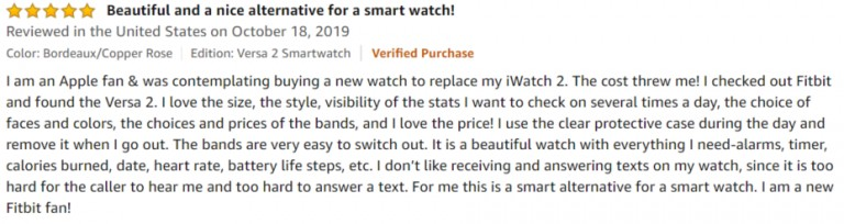Fitbit Versa 2 Amazon review 2