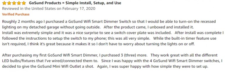 Gosund Smart Dimmer Switch Amazon review 3