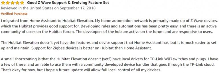 Hubitat Elevation Amazon review