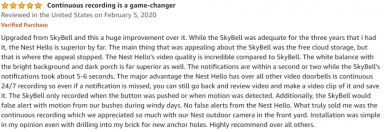Nest Hello Amazon review 3