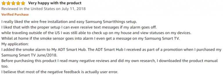 Samsung Smart Alarm Amazon review