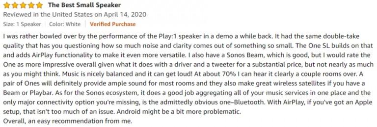 Sonos One SL Amazon Review 3