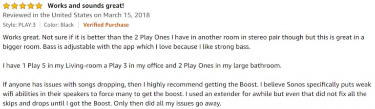 Sonos Play 3 Amazon review 3