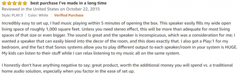 Sonos Play 3 Amazon review