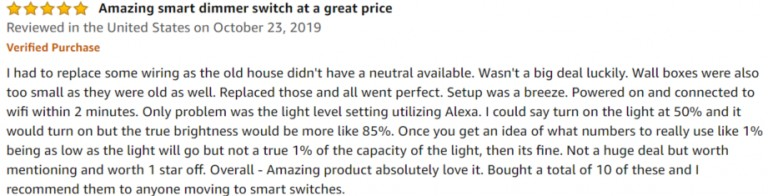 TREATLIFE Smart Dimmer Switch Amazon review 2