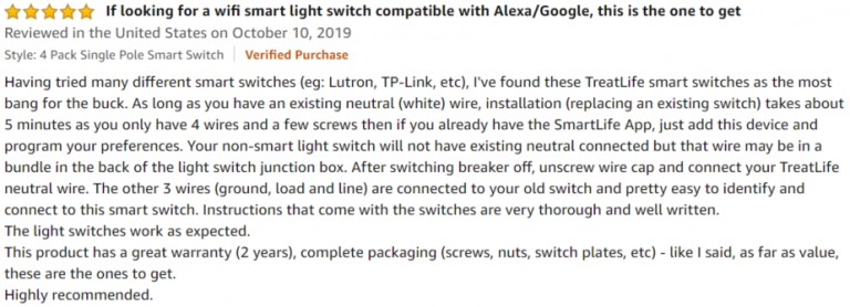 Treatlife Smart Light Switch Amazon review 2