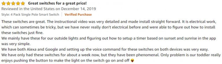 Treatlife Smart Light Switch Amazon review