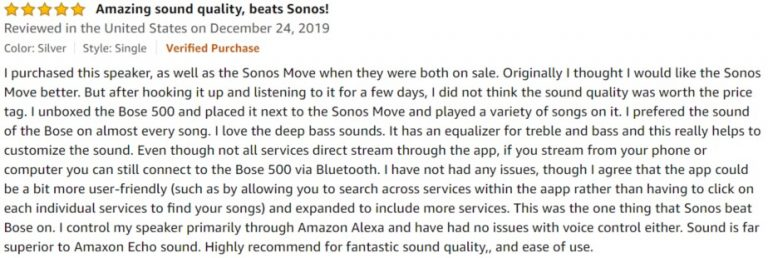 Bose Home Speaker 500 Amazon review 3