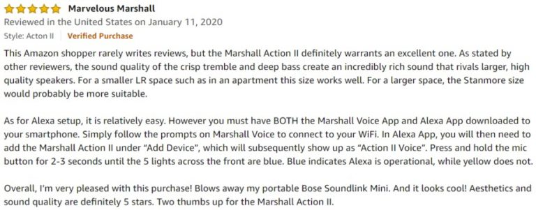 Marshall Acton II amazon review 2