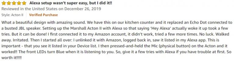 Marshall Acton II amazon review