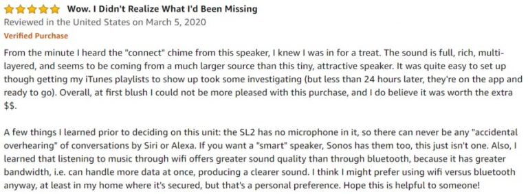 Sonos One SL Amazon Review 5
