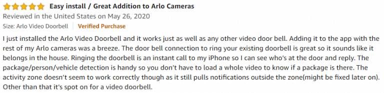 Arlo Video Doorbell Amazon review 2