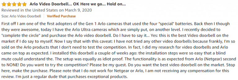 Arlo Video Doorbell Amazon review