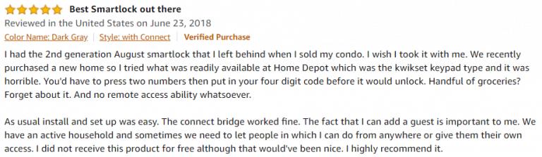 August Smart Lock Pro+ Amazon review 2