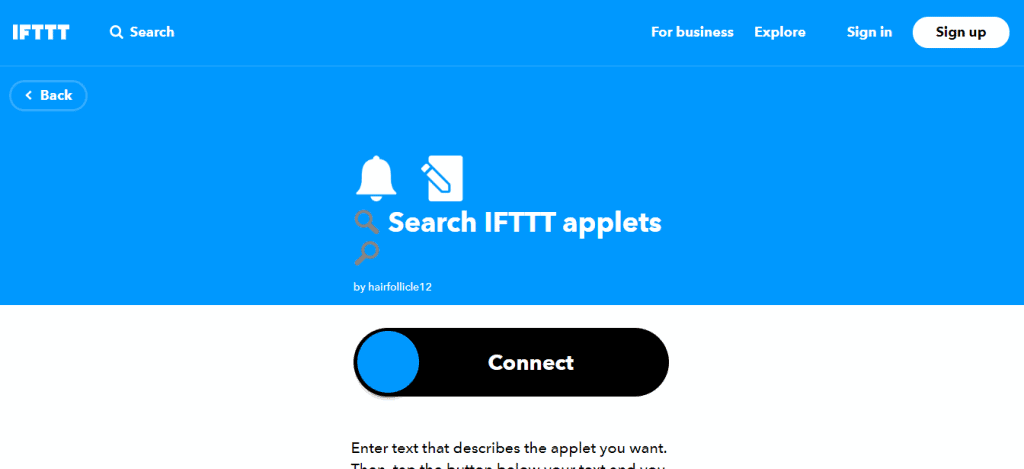 IFTTT Applets Page