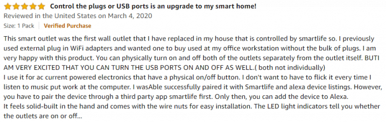 Lumary Smart Wi-Fi In-Wall Outlet Amazon review 3
