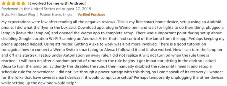 Wemo Mini Smart Plug Amazon review 3