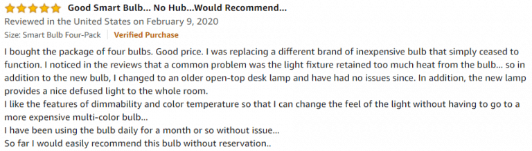 Wyze Bulb 800 Lumen Amazon review 2