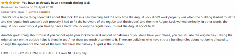 August Home Pro Amazon Review 3