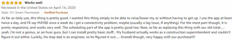 Honeywell T5+ Amazon review 3