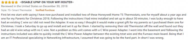 Honeywell T5 Amazon review 4