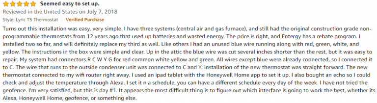 Honeywell T5 Amazon review 6